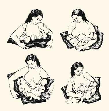 Кормление грудью двойни